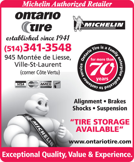 Ontario Tire-Michelin Authorized Retailer (514-341-3548) - Display Ad -