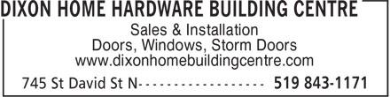 Home Hardware Building Centre (519-843-1171) - Display Ad - Sales & Installation Doors, Windows, Storm Doors www.dixonhomebuildingcentre.com