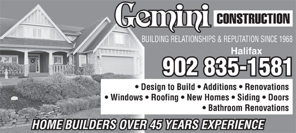 Gemini Construction (902-835-1581) - Annonce illustrée======= -