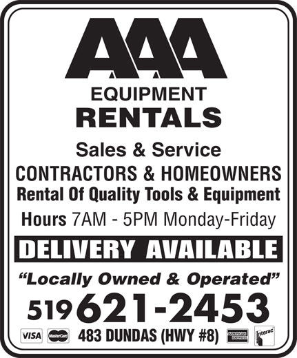 AAA Equipment Rentals & Sales (519-621-2453) - Display Ad -