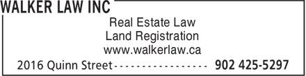 Walker Law Inc (902-425-5297) - Annonce illustrée======= - Real Estate Law www.walkerlaw.ca Land Registration