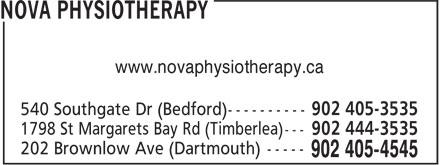 Nova Physiotherapy (902-405-4545) - Annonce illustrée======= - www.novaphysiotherapy.ca