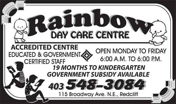 Rainbow Day Care Centre (403-548-3084) - Annonce illustrée======= -