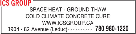 Aggreko Canada Inc (780-980-1220) - Display Ad - SPACE HEAT - GROUND THAW COLD CLIMATE CONCRETE CURE WWW.ICSGROUP.CA