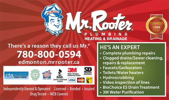 Mr Rooter Plumbing (780-429-3600) - Annonce illustrée======= -