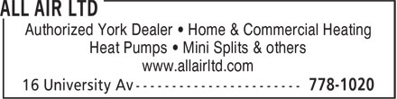 Jenkins/All-Air (506-778-1020) - Annonce illustrée======= - Authorized York Dealer • Home & Commercial Heating Heat Pumps • Mini Splits & others www.allairltd.com
