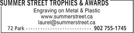 Summer Street (902-755-1745) - Display Ad - Engraving on Metal & Plastic www.summerstreet.ca Engraving on Metal & Plastic www.summerstreet.ca