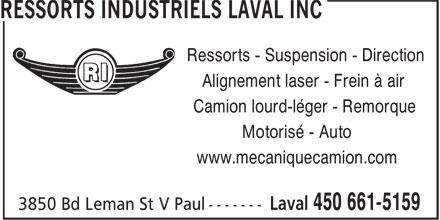 Ressorts Industriels Laval Inc (450-661-5159) - Annonce illustrée======= - Ressorts - Suspension - Direction Alignement laser - Frein à air Camion lourd-léger - Remorque Motorisé - Auto www.mecaniquecamion.com