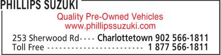 Phillips Suzuki (902-566-1811) - Annonce illustrée======= - www.phillipssuzuki.com Quality Pre-Owned Vehicles