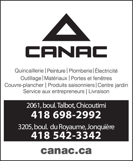Canac (418-698-2992) - Annonce illustrée======= -