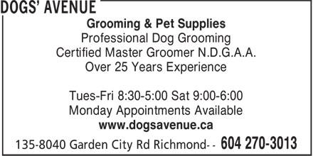 Dogs' Avenue (604-270-3013) - Annonce illustrée======= -