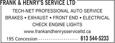 Ads Frank & Henry's Service Ltd