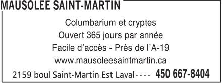 Mausolée Saint-Martin (450-667-8404) - Display Ad -