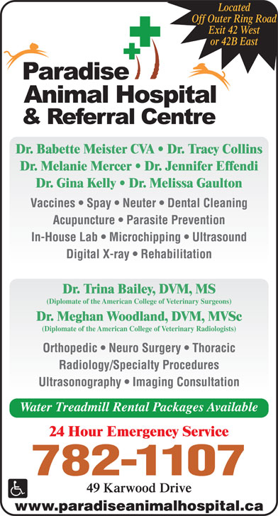 Paradise Animal Hospital & Referral Centre (709-782-1107) - Display Ad - Off Outer Ring Road Exit 42 West or 42B East Dr. Babette Meister CVA   Dr. Tracy Collins Dr. Melanie Mercer   Dr. Jennifer Effendi Dr. Gina Kelly   Dr. Melissa Gaulton Vaccines   Spay   Neuter   Dental Cleaning Acupuncture   Parasite Prevention In-House Lab   Microchipping   Ultrasound Digital X-ray   Rehabilitation Dr. Trina Bailey, DVM, MS (Diplomate of the American College of Veterinary Surgeons) Dr. Meghan Woodland, DVM, MVSc (Diplomate of the American College of Veterinary Radiologists) Orthopedic   Neuro Surgery   Thoracic Radiology/Specialty Procedures Ultrasonography   Imaging Consultation Water Treadmill Rental Packages Available 24 Hour Emergency Service 782-1107 49 Karwood Drive www.paradiseanimalhospital.ca Located