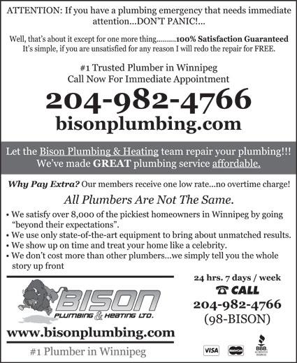 Bison Plumbing & Heating Ltd (204-943-2856) - Annonce illustrée======= - CALL