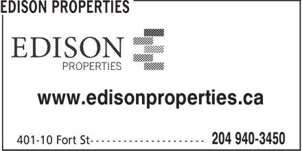Edison Properties (204-940-3450) - Annonce illustrée======= - www.edisonproperties.ca