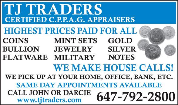 TJ Traders (416-361-5005) - Annonce illustrée======= - 647-792-2800