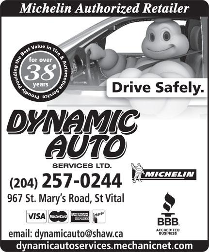 Dynamic Auto Services Ltd-Authorized Michelin Retailer (204-257-0244) - Annonce illustrée======= -