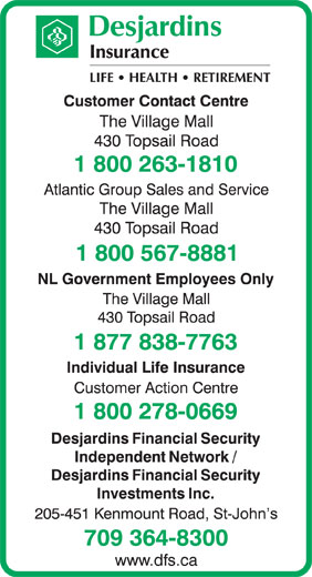 Desjardins Insurance (1-800-263-1810) - Display Ad -