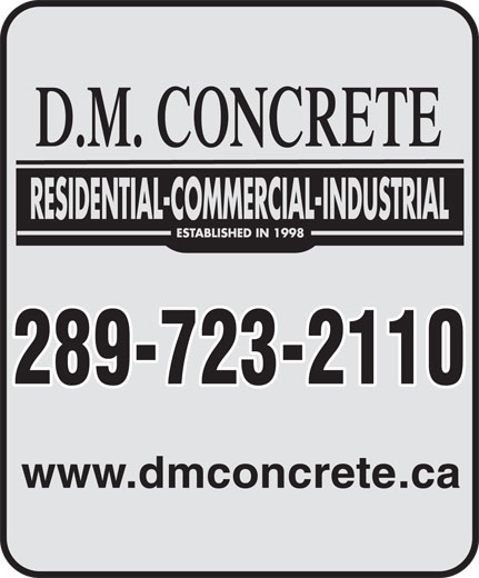 D M Concrete (905-892-8165) - Display Ad - 289-723-2110 www.dmconcrete.ca