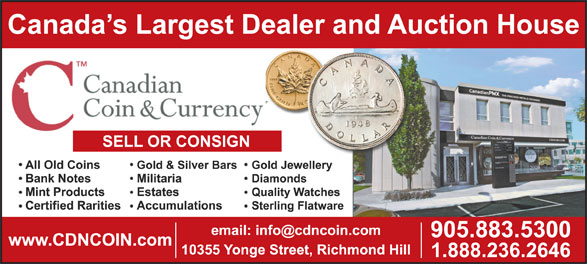 Canadian Coin & Currency (1-888-236-2646) - Display Ad -