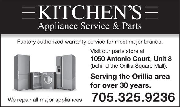 Kitchen 39 S Appliance Service 1050 Antonio Crt Orillia On