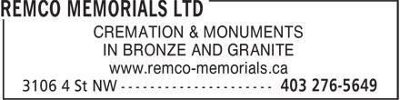 Remco Memorials Ltd (403-276-5649) - Annonce illustrée======= - CREMATION & MONUMENTS IN BRONZE AND GRANITE www.remco-memorials.ca