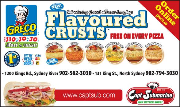 Greco Pizza (902-310-3030) - Annonce illustrée======= - CRUSTS www.captsub.com OnlineOrder CRUSTS
