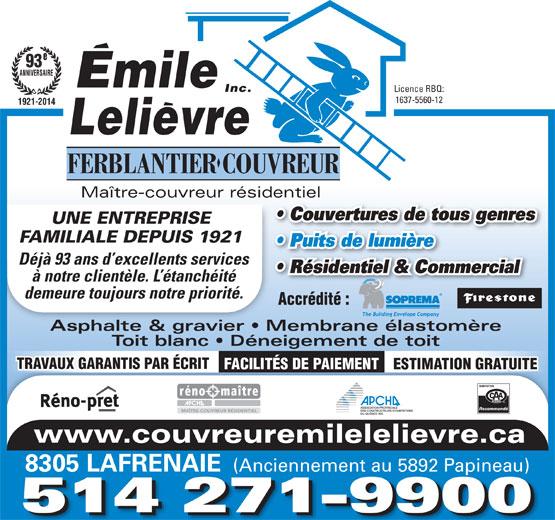 Émile Lelièvre Ferblantier-Couvreur Inc (514-271-9900) - Annonce illustrée======= -