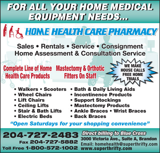 Home Health Care Pharmacy A 3000 Victoria Ave Brandon Mb
