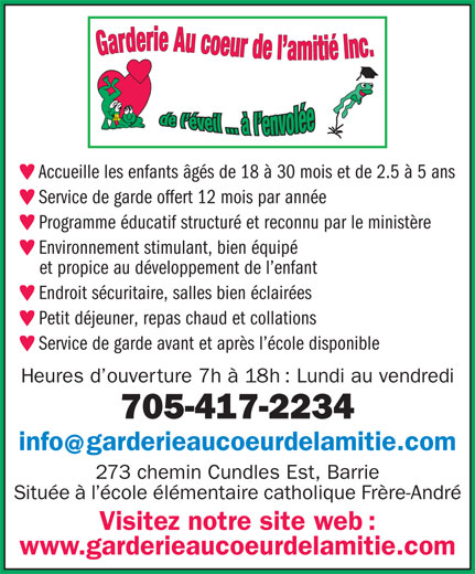 garderie au coeur de l 39 amiti conseil scolaire de district catholique centre sud 273 cundles. Black Bedroom Furniture Sets. Home Design Ideas