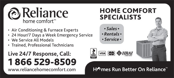 Reliance Home Comfort - Annonce illustrée======= -