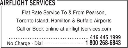 Airflight Services (416-445-1999) - Annonce illustrée======= -