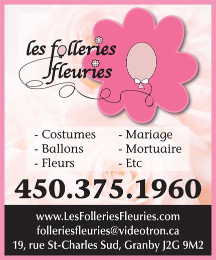 Folleries Fleuries (Les) (450-375-1960) - Annonce illustrée======= -