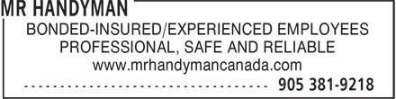 Mr Handyman of Hamilton (905-381-9218) - Annonce illustrée======= - BONDED-INSURED/EXPERIENCED EMPLOYEES PROFESSIONAL, SAFE AND RELIABLE www.mrhandymancanada.com BONDED-INSURED/EXPERIENCED EMPLOYEES PROFESSIONAL, SAFE AND RELIABLE www.mrhandymancanada.com