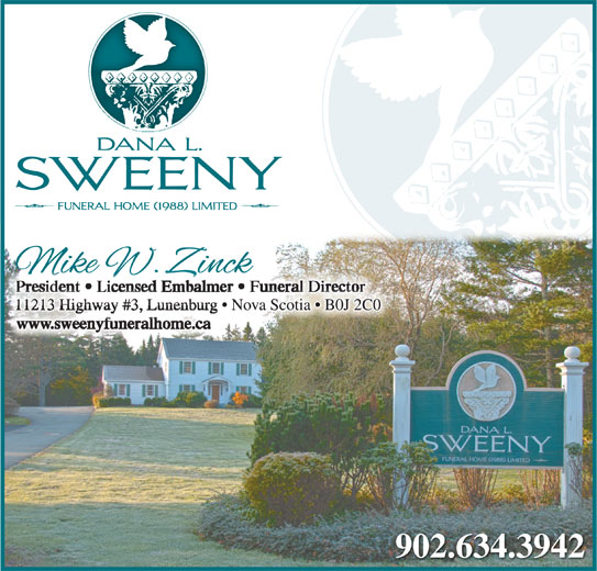 Sweeny Dana L Funeral Home (1988) Ltd (902-634-3942) - Display Ad -