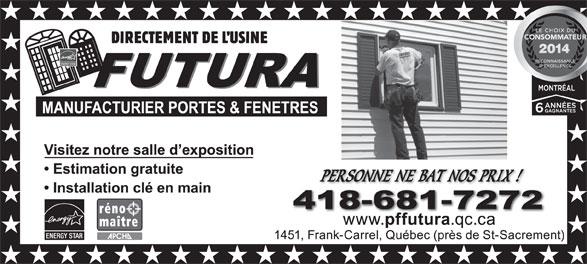 Futura Manufacturing Doors & Windows (418-681-7272) - Display Ad -