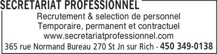 Secrétariat Professionnel (450-349-0138) - Annonce illustrée======= - Recrutement & selection de personnel Temporaire, permanent et contractuel www.secretariatprofessionnel.com