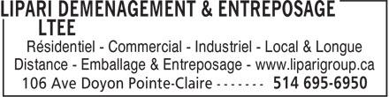 Lipari Déménagement & Entreposage Ltée (514-695-6950) - Display Ad - Résidentiel - Commercial - Industriel - Local & Longue Distance - Emballage & Entreposage - www.liparigroup.ca