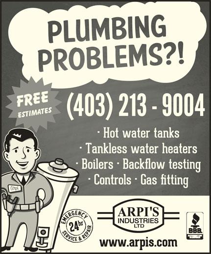 Arpi's Industries Ltd (403-236-2444) - Display Ad - (403) 2139004(403) 2139004 (403) 2139004(403) 2139004