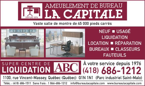 Ameublement De Bureau La Capitale (418-686-1212) - Annonce illustrée======= -