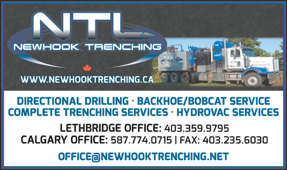 Newhook Trenching Ltd (403-235-6005) - Display Ad -
