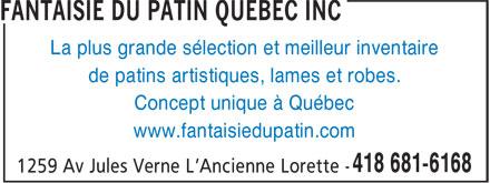 Fantaisie Du Patin Québec Inc (418-681-6168) - Annonce illustrée======= - La plus grande sélection et meilleur inventaire de patins artistiques, lames et robes. Concept unique à Québec www.fantaisiedupatin.com