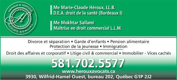 Héroux & Associé Avocats (418-877-3383) - Annonce illustrée======= -