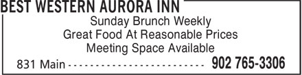 Best Western (1-866-827-3087) - Annonce illustrée======= - Sunday Brunch Weekly Great Food At Reasonable Prices Meeting Space Available