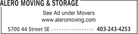 Alero Moving & Storage (403-243-4253) - Annonce illustrée======= - See Ad under Movers www.aleromoving.com