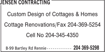 Jensen Contracting (204-369-5298) - Display Ad - Custom Design of Cottages & Homes Cottage Renovations/Fax 204-369-5254 Cell No 204-345-4350