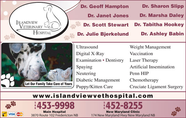 Islandview Veterinary Hospital (506-453-9998) - Display Ad - Dr. Sharon Slipp Dr. Geoff Hampton Dr. Marsha Daley Dr. Janet Jones Dr. Tabitha Hookey Dr. Scott Stewart Dr. Ashley Babin Dr. Julie Bjerkelund Ultrasound Weight Management Digital X-Ray Vaccination Examination   Dentistry Laser Therapy Spaying Artificial Insemination Neutering Penn HIP Diabetic Management Chemotherapy Let Our Family Take Care of Yours Puppy/Kitten Care Cruciate Ligament Surgery www.islandviewvethospital.com New Maryland ClinicMain Hospital 174 New Maryland Hwy New Maryland NB3870 Route 102 Fredericton NB