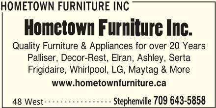 Hometown Furniture Inc (709-643-5858) - Annonce illustrée======= -