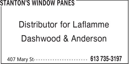 Stanton's Window Panes (613-735-3197) - Annonce illustrée======= - Distributor for Laflamme Dashwood & Anderson